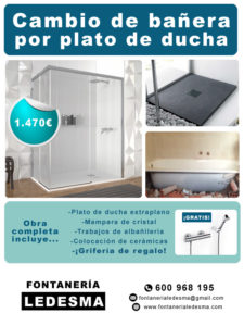 oferta de cambio de bañera por plato de ducha en san sebastian donostia. precio 1470€. Sin obras yen menos de 24 horas