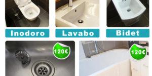 ofertas, precios y tarifas de desatascos de Fontaneria ledesma de san sebastian: inodor, lavabo, bidet, fregadera, bañera, plato de ducha